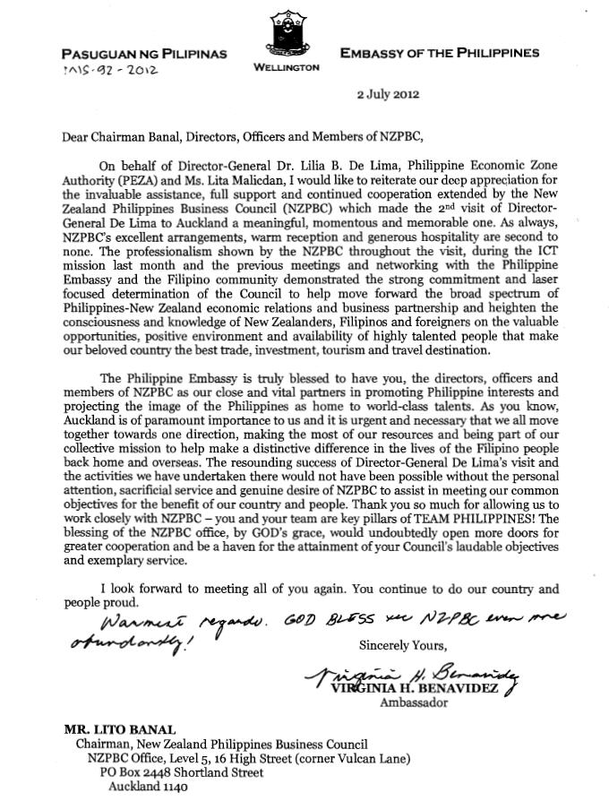 Letter of Appreciation from Philippine Embassy | New ...